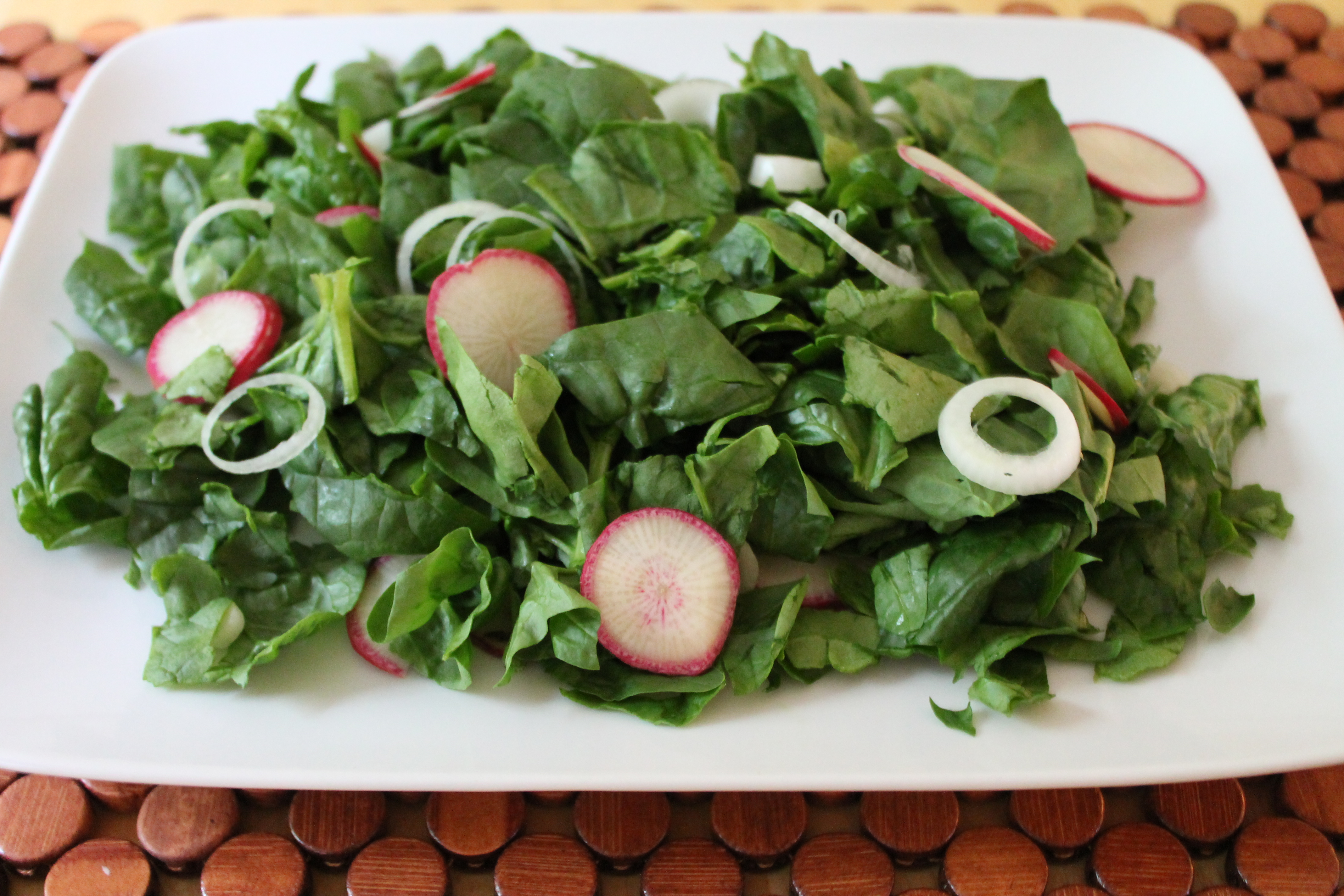 Spinach, Radishes, Spring Onions