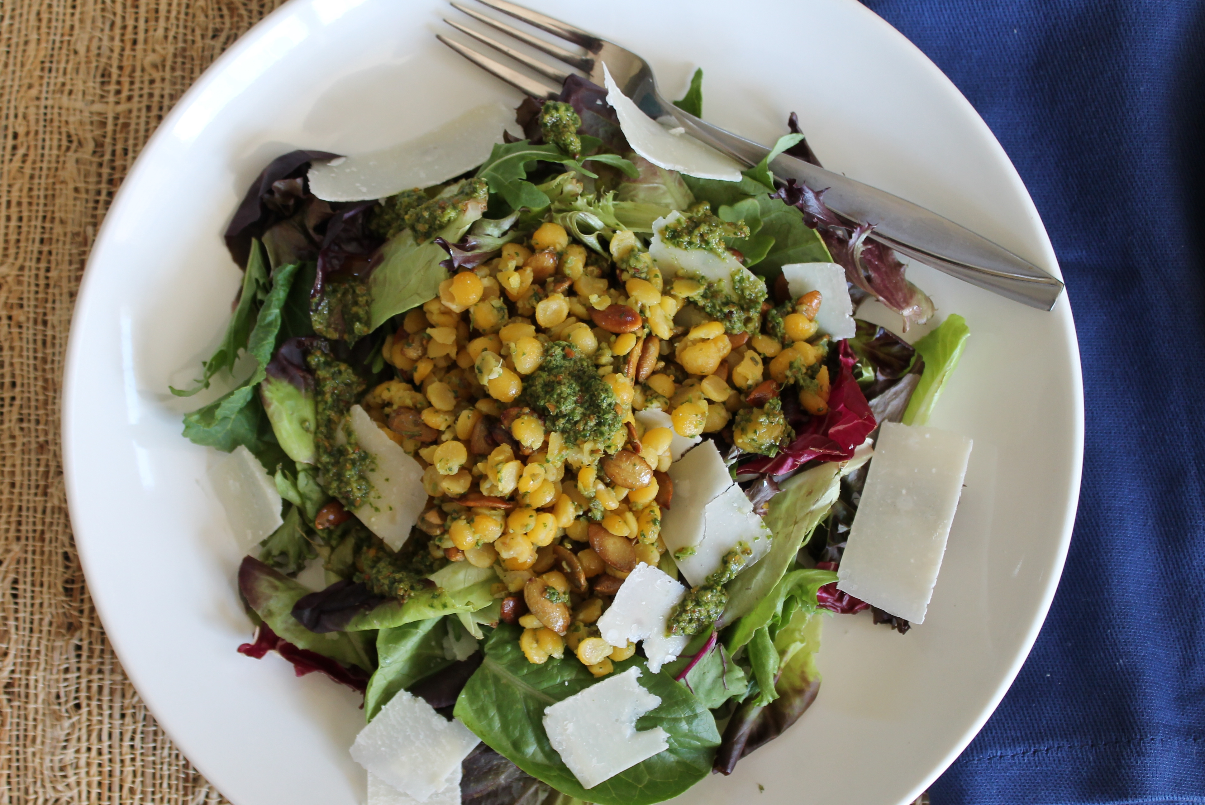 Yellow Split Pea and Mixed Greens Salad