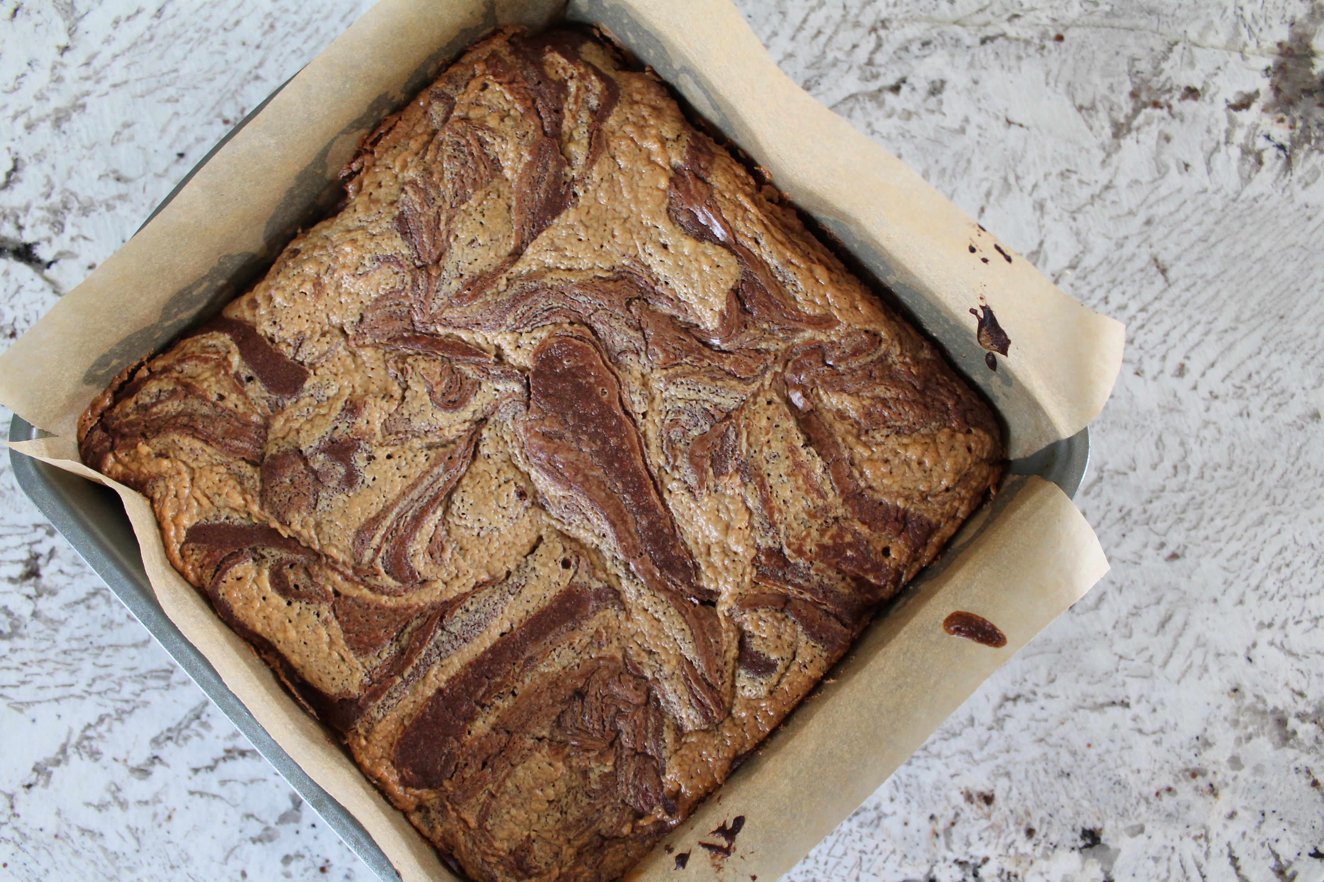 Salty Peanut Butter Swirl Brownies