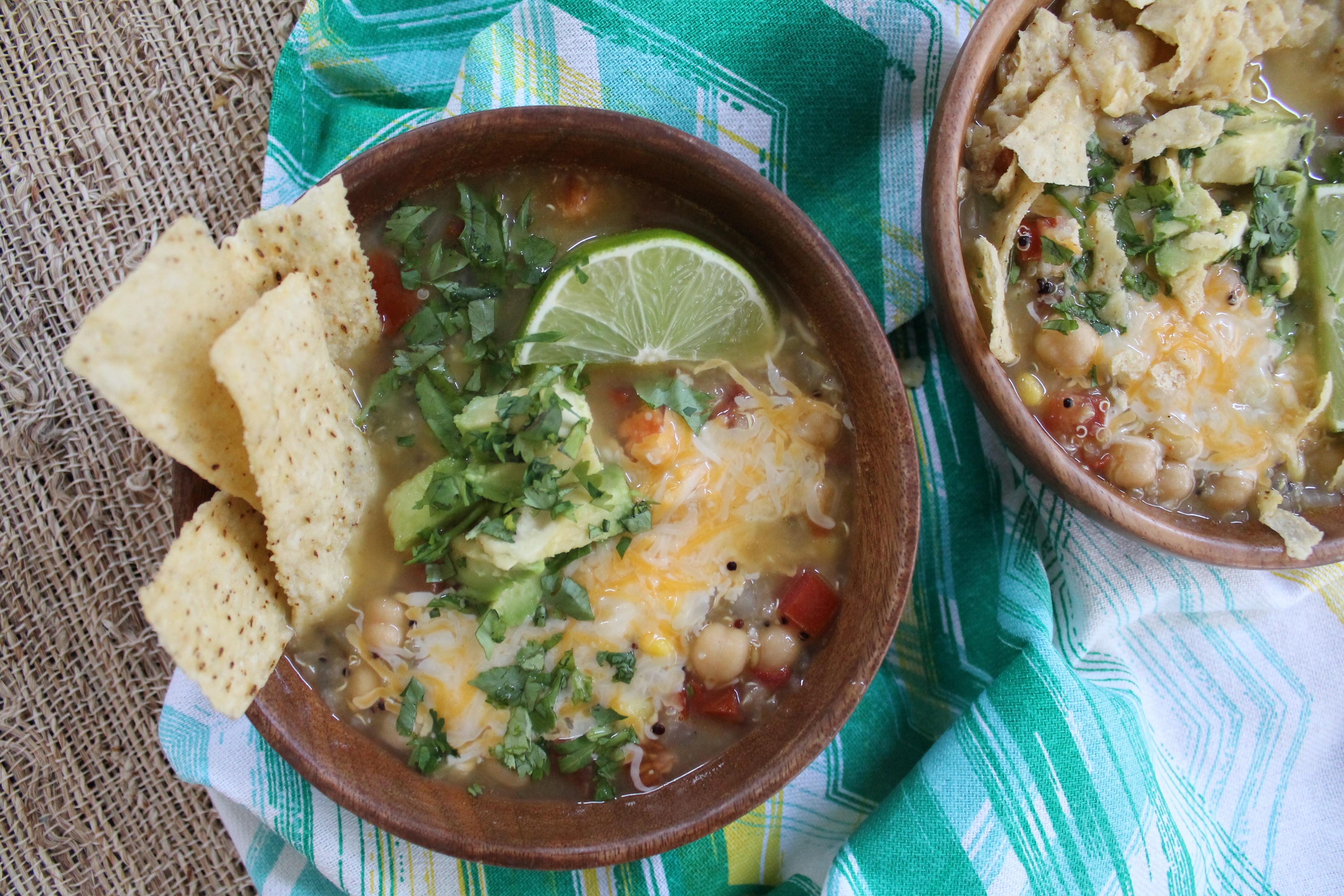 Quinoa Chickpea Tortilla Soup